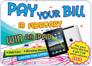 Pay your Bill in February and Win an iPad