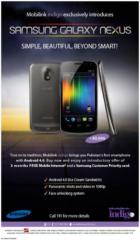 Mobilink Indigo Brings Samsung Galaxy Naxus