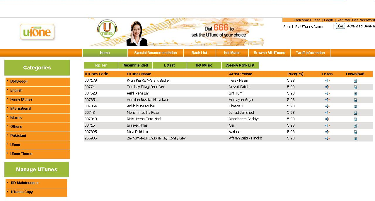 Ufone Relaunches it Utunes Online Web Portal