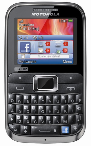 Motorola MOTOKEY 3-CHIP Triple-SIM Mobile Phone with Facebook Button