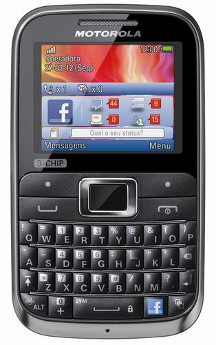 Motorola MOTOKEY 3-CHIP Triple-SIM Mobile Phone with Facebook Button