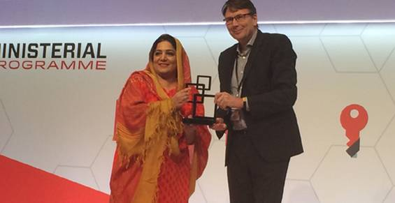 """In a very significant development for the telecommunications sector of Pakistan and in recognition of the forward looking progressive policies of the current Government in Mobile Broadband, Pakistan was awarded """"Spectrum for Mobile Broadband Award 2015 """" at the prestigious Mobile World Congress 2015 of the GSM Association here in Barcelona Spain. The annual event considered the epitome of telecommunications development and innovation globally brings together leaders from governments, regulators, top industry players and other constituents of the global ICT ecosystem at the annual Mobile world congress. """"The award of """"GSMA Spectrum for Mobile Broadband Award for 2015"""" to Pakistan is an indication of the global community reposing its trust in the Telecommunication Sector policy practices of the Government of Pakistan"""", said the Minister of State for Information Technology while accepting the award on behalf of the Government of Pakistan. She added that our policies have once again acclaimed worldwide recognition, and is in fact a continuation of Pakistan's journey during the course of which GSMA once again acknowledged us. The spectrum award which is one of the two annual """"Government Mobile Excellence Award"""" awards is given as a recognition of significant achievement of the government in driving the growth and socio-economic impact of the mobile industry in the country, and demonstration of clear commitment in putting mobile broadband at the top of its digital agendas.    The Minister in her key note address said that in a short span of 6 to 8 months since launch of 3G/4G service the mobile broadband subscriptions for 3 g stand at around 10 Million. The Spectrum auction for next generation mobile services has not only enabled the people of Pakistan to gain access to mobile broadband services and be at par with rest of the world in terms of mobile broadband technology, but has also successfully encouraged investment in mobile networks in Pakistan.   Ms. Anusha Rahman K"""