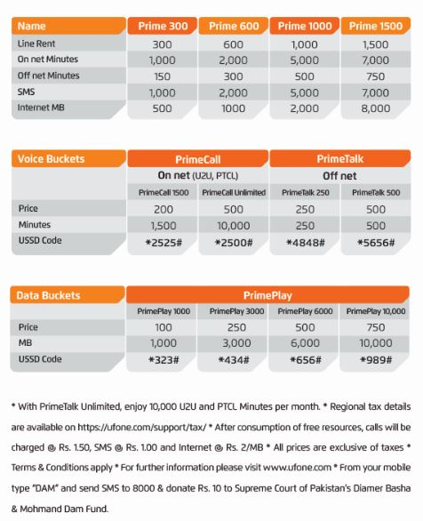 UfonePrimePostpay-Packages